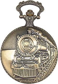 ShoppeWatch Pocket Watch with Chain Goldtone Railroad Train Full Hunter Locomotive Steampunk Design PW-34
