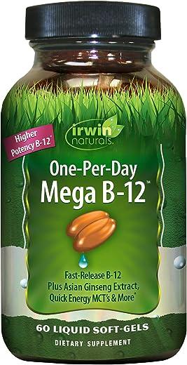 Irwin Naturals One-Per-Day Mega B-12 3,000mcg High Potency Methylcobalamin Vitamin - Fast Enhanced Absorption with MCT + Asian Ginseng - Natural Energy Boost - 60 Liquid Softgels