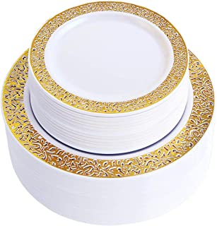 WDF 102pcs Gold Disposable Plastic Plates -Lace Design Wedding Party Plastic Plates include 51 Plastic Dinner Plates 10.25inch,51 Salad/Dessert Plates 7.5inch (Gold Lace Plates)