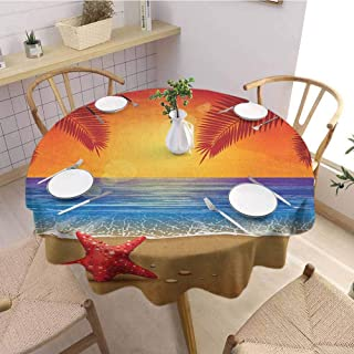 HouseLookHome Tropical Christmas Tablecloth Sunset Cartoon Illustration Beach Summer Starfish Palm Tree Ocean Fantasy Art Table Cloth for Kitchen Room 63 Inch Round Red Yellow Blue