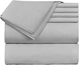 Hearth & Harbor 4 Piece Bed Sheet Set Extra Deep Pocket, Fits Mattress from 18-24 inces Depth, Twin XL, Silver