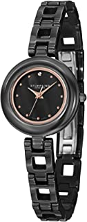 Stuhrling Original Women's 921.03 Leisure Petit Black Ceramic Watch with Link Bracelet