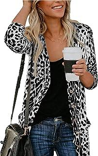 Women Lightweight Cardigan Leopard Printed Button Down...