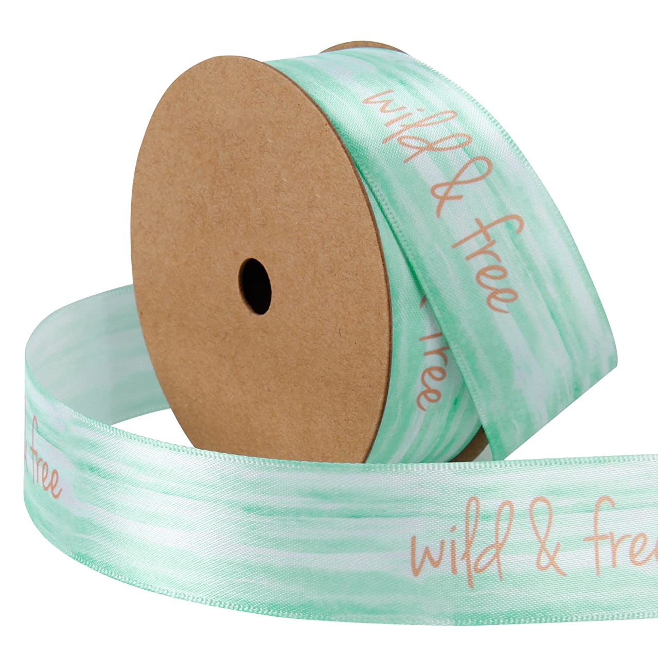 LaRibbons 1 inch Watercolor Printing Satin Ribbons Continuous 10 Yards Roll,Wild and Free