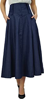 Bimba Women's Mid-Calf High Waist Denim Skirt Long FLA A line Retro Boho Skirts