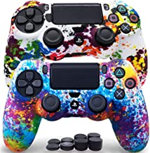 Sofunii 2pcs Camo Skin for PS4 Controller, Anti-Slip Silicone Protector Cover Shell Case with 8 Thumb Grip Caps, Compatibl...
