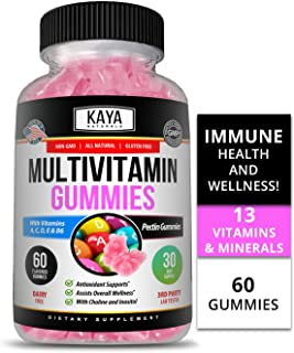 Kaya Naturals Adult Multi Vitamin Gummy, 60 Count, Biotin, Vitamin A, C & E, Including Zinc &Vitamin B-12, Folic Acid, Str...