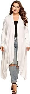 Women's Plus Size Long Sleeve Waterfall Asymmetric Drape Open Front Long Maxi Cardigan Sweater L-5XL