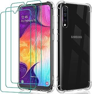 comprar comparacion ivoler Funda para Samsung Galaxy A50 / A50S / A30S + 3X Cristal Templado Protector de Pantalla, Silicona Transparente TPU ...