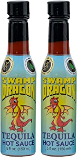 "Swamp Dragon Tequila Hot Sauce ""The Tequila Dragon"" No Vinegar! Makes Eating Fun! (10 oz 2 pack)"