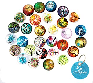 Carykon 25 PCS Glass Dome Cabochons Half Round Flat Backed Tree of Life, 25mm Diameter, Random Color