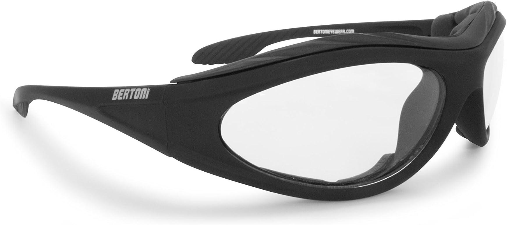 Bertoni Motorcycle Padded Glasses - Windproof Antifog Anticrash Lens - AF125B Italy - Motorbyke Riding Sunglasses - Matt Black - Clear Lens