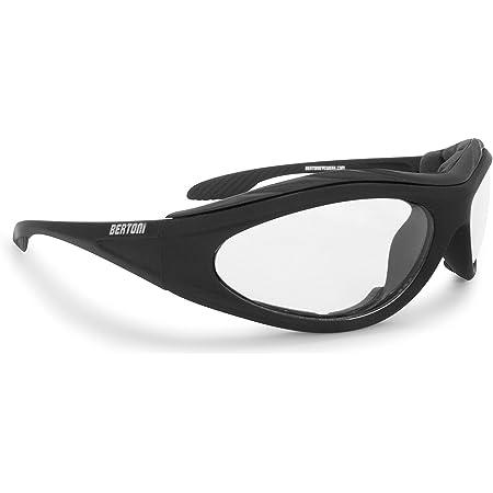 Motorcycle Padded Glasses Photochromic Antifog Anticrash Lens - Windproof insert - by Bertoni Italy F125A1 Motorbike Riding Sunglasses