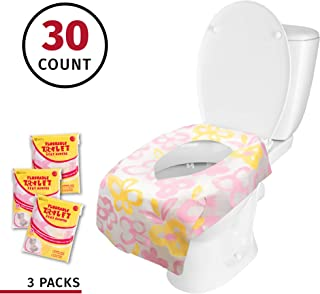 Banana Basics Flushable Disposable Paper Toilet Seat Cover (3 Packs, 10 Each) Kid-Friendly, X-Large Coverage | Promotes Proper Hygiene, Cleanliness | Reduce Germs, Messes | (Flowers,30 Pack)