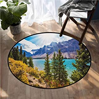 Landscape Area Rugs National Park Banff Canadian Rockies Mountain Trees Glacial Lake Sunny Sky Round Mats for Living Room Bedroom Study D36 Inch