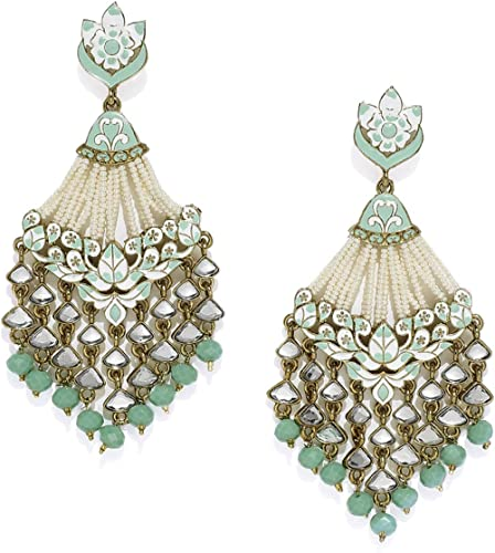 Zaveri Pearls Antique Gold Tone Embellished With Pearls & Meenakaari Dangle Earring For Women-ZPFK7383