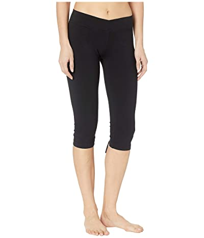 Hard Tail Crossover Waist Back Laced Capris (Black) Women