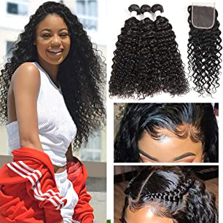 Human Hair Bundles with Closure Water Wave Bundles Natural Hair Extensions Water Curly Hair with Closure Brazilian Hair Bundles with Closure Unprocessed Virgin Human Hair Curly Bundles with Closure