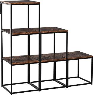 HOMCOM Étagère bibliothèque séparateur de pièce Style Industriel modulable 6 étagères métal Noir MDF Aspect Vieux Bois chêne