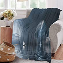 Luoiaax Sailboat Commercial Grade Printed Blanket Yacht at The Ocean Comes Nearer a Thunderstorm with Rain and Bolt Artwork Print Queen King W91 x L60 Inch Blue Grey