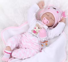 Pinky 22inch 55cm Lifelike Reborn Baby Girl Doll Soft Silicone Sleeping Baby Realistic Looking Newborn Doll Toddler Kid Birthday and Xmas Gift
