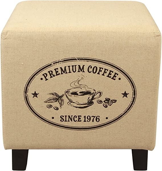 Lux Home Vintage Recycle Ottoman Footstool Coffee Pattern Design