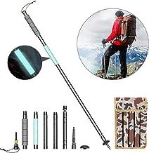 Aluminiumlegering trekkingstokken lichte Nordic Walking stokken multifunctionele wandelstokken met kompas, signaalfluiten, met fluorescerende handgreep - geschikt voor wandelen, outdoor voor eenvoudig dragen