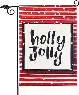 Holly Jolly Garden Flag Vertical Double Sided 12.5 x 18 Inch Farmhouse Christmas Winter Holiday Burlap Yard Outdoor Decor,...