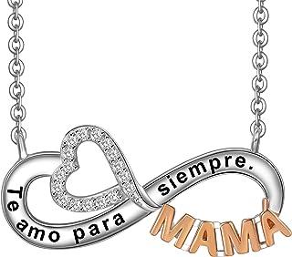 LOVORDS Collar Mujer Grabado Plata de Ley 925 Colgante Corazón y Infinito Regalo Madre Mamá Esposa Novia Abuela Hija