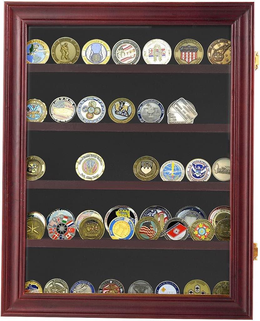 Sandinrayli Coin Display Case Lockable Cabinet Rack Shadow Box w