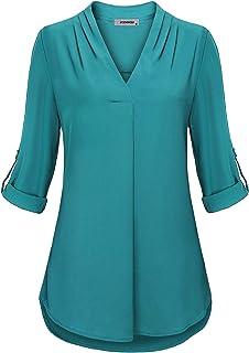 JCZHWQU Womens Notch V-Neck Tab Sleeve Button Down Chiffon Blouse Top