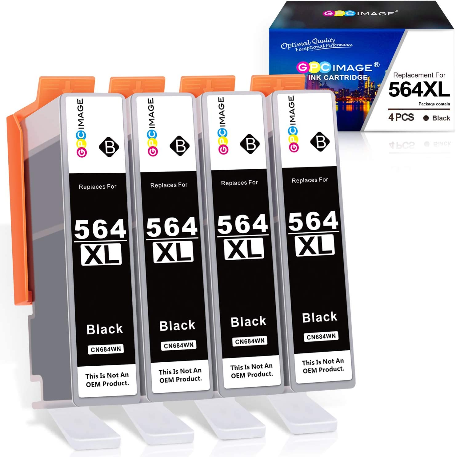 GPC Image Compatible Ink Cartridge Replacement for HP 564XL 564 XL to use with DeskJet 3520 3522 Officejet 4620 Photosmart 5520 6510 7520 7525 Printer Tray (4 Black)