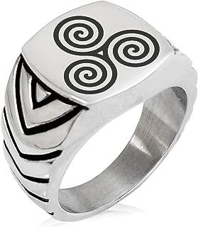 Stainless Steel Celtic Triskele Triskelion Triple Spiral Chevron Pattern Biker Style Polished Ring