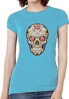 Womens Diamond Skulls Flower Eyes Short-Sleeve T-Shirt