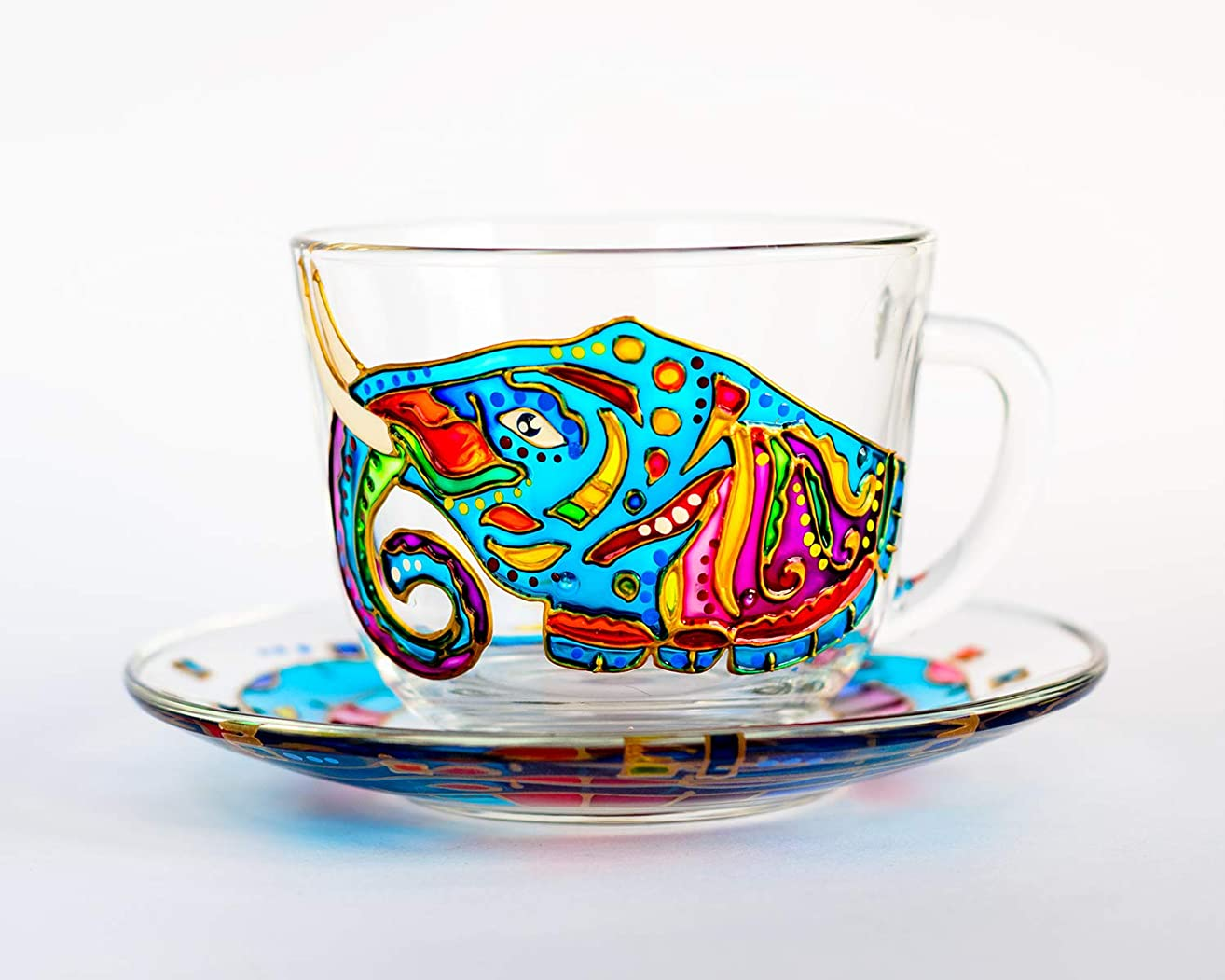 Personalized Tea Cup and Saucer Set Gifts Colorful Elephant - Personalized Tea Sets for Women - Teacup and Saucer Set