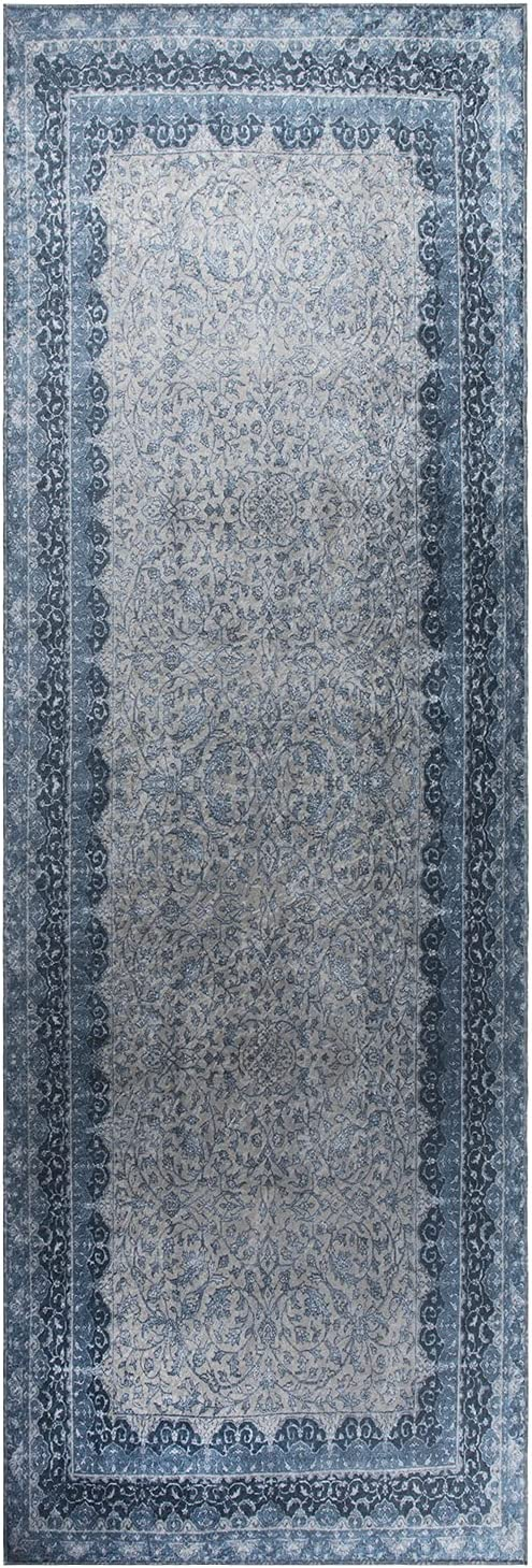Mylife Rugs Traditional Vintage Non Slip Machine Washable Printed Area Rug, Blue Grey 2'7x7'7