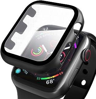 Wenearn Funda para Apple Watch Series 3/2/1 42mm, Cubierta Plástica + Protector Pantalla [Sin Burbujas] Protección Completo Anti-Rasguños Super HD Thin Fit Caja Duro con Vidrio Templado - Negro