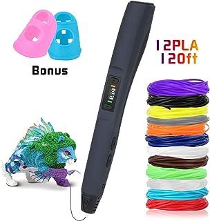 Pluma de impresión 3D, Uzone 3D Pluma con 12 Colores Filamento, Pantalla LCD, Control de Impresión Temperatura y 8 Velocidades, Diseño de Seguridad, PLA & ABS, 3D Pen Juguetes/Regalos para Niños