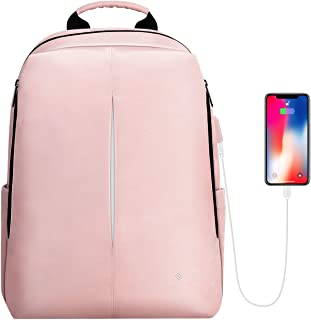 FINPAC Mochila para Portátil, Mochila Escolar de Tela y Nano-Moleculares Repelente al Agua con Puerto de Carga USB para Viaje Mujeres Hombres Se Adapta a Laptop de hasta 15.6