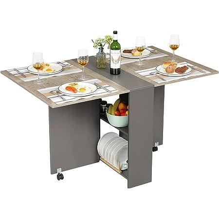 Tiptiper Table à Manger Pliante avec 2 Supports de Rangement, Table de Cuisine Pliable avec 6 Roues, Table Multifonction pour Cuisine, Chambre à Coucher, Salon