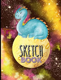 Sketch Book: Dinosaur sketchbook for kids. Blank paper book large size 8.5x11 A4 , 110 white pages drawing pad for paintin...