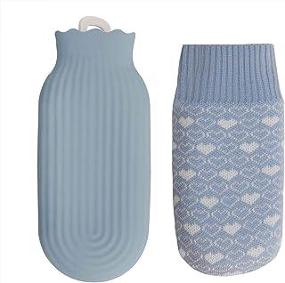 Protable Mini botella de agua caliente de silicona con cubierta de punto a prueba de explosión para microondas y calentador de agua fría, bolsa calentadora de mano, bolsillo para alivio del dolor