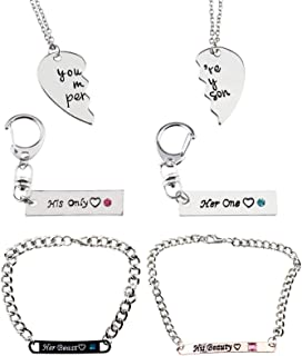 Create Idea Juego de 6 pulseras para parejas, diseño de rompecabezas, con palabras de amor grabadas para aniversario, día ...