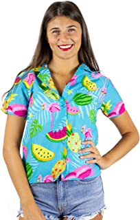 King Kameha Funky Hawaiian Shirt Blouse Women Shortsleeve Frontpocket Hawaiian-Print Melon Flamingo Fruits