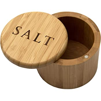 "Totally Bamboo Salt Box, Bamboo Storage Box with Magnetic Swivel Lid, ""Salt"" Engraved on Lid"