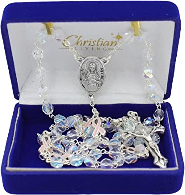 Christian Living St Agatha 6mm Clear Glass with AB Finish Bead Rosary