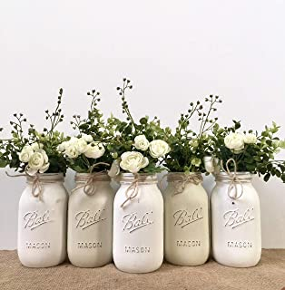 Mason Jar Centerpiece Set, Pint Size Jars, Your Choice of Jar Colors, 3-4-5 piece sets, Pint or Quart Size, Silk Flowers Optional