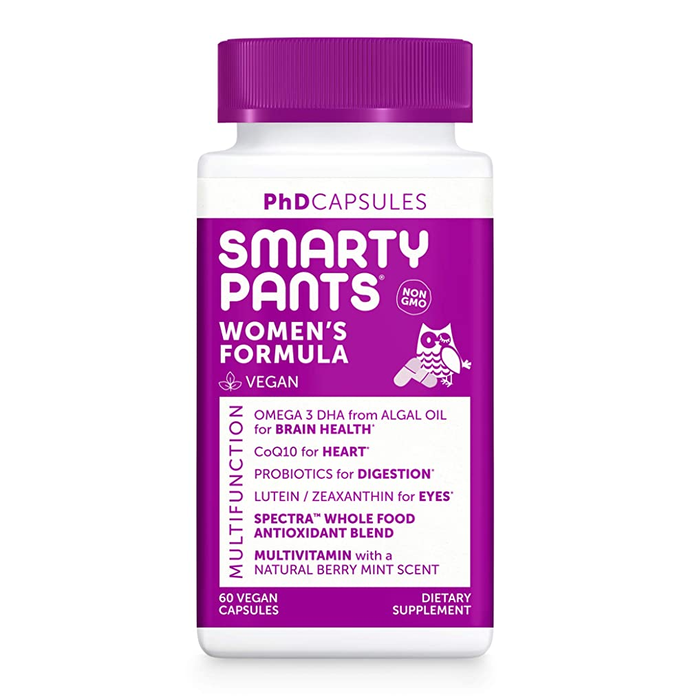 SmartyPants PhD Daily Multivitamin for Women w/Probiotics, Vitamin D, Vitamin C, Iron, Vitamin E, Omega 3, CoQ10, Vitamin B12, Lutein & Zeaxanthin, Folate, Vegan, Non-GMO, 60 Capsules (30 Day Supply)