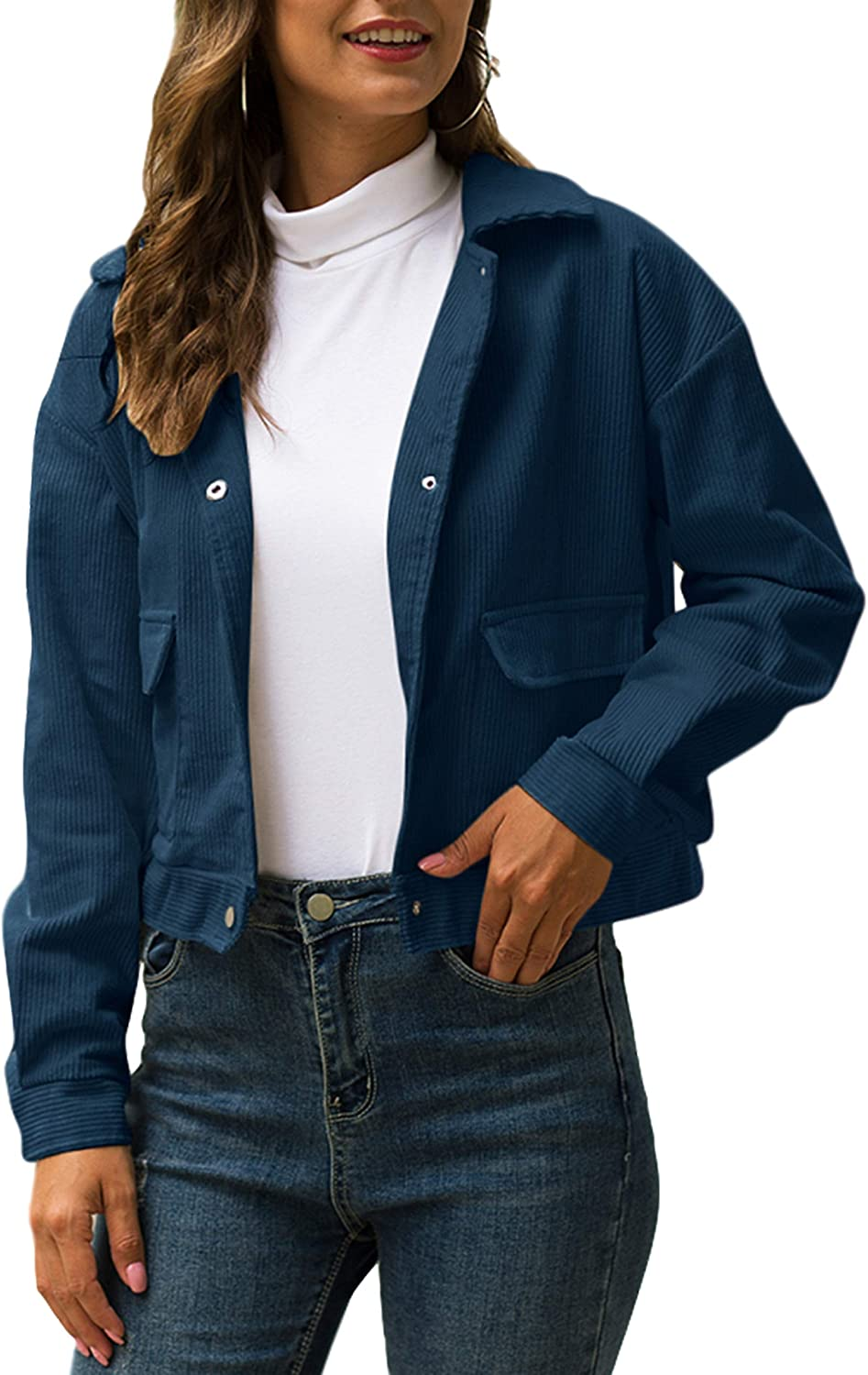 Uaneo Womens Corduroy Casual Cropped Button Down Long Sleeve Jackets Coats(Blue-M)