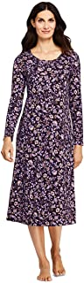 Lands' End Women's Supima Cotton Long Sleeve Midcalf Nightgown - Print